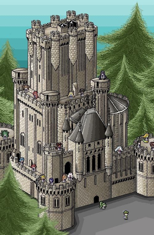 Замок бутрон в пиксель арте