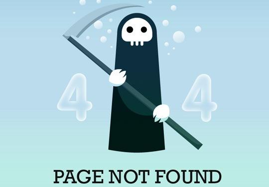 Страница ошибки в блоге дизайнера и программиста