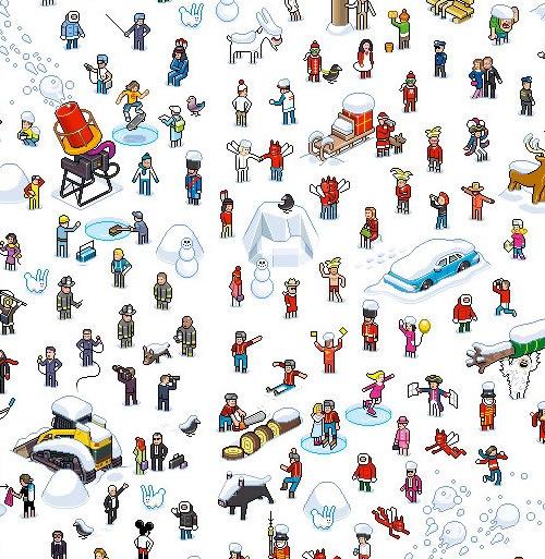 Новогодний пиксель арт