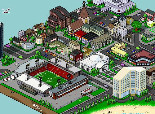 Городок из пикселей