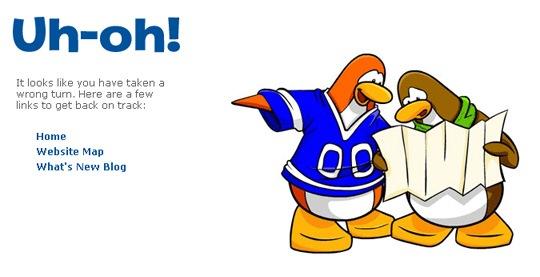 Иллюстрация пингвинов на странице ошибки