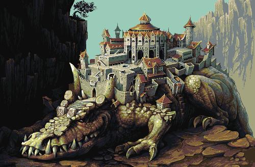 крокодиловый пиксельный город