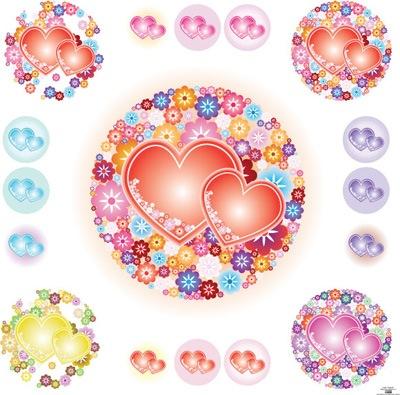 Векторные сердца в цветах