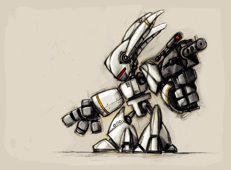 робот в виде набросков