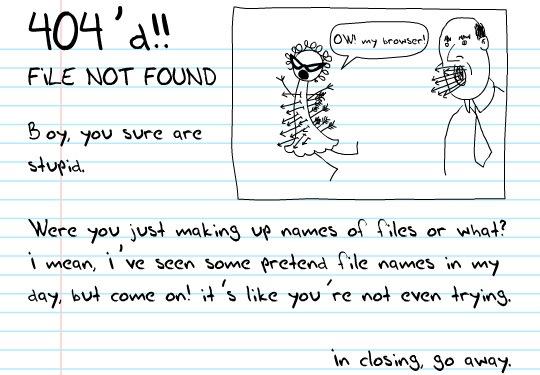 Забавная страница ошибки в виде тетрадного листа