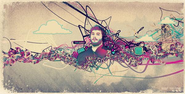 стильный гранж постер с абстрактными элементами