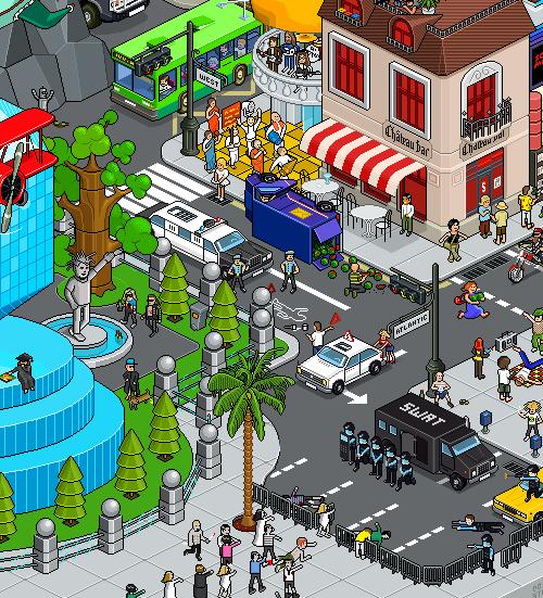 город в пиксельной графике
