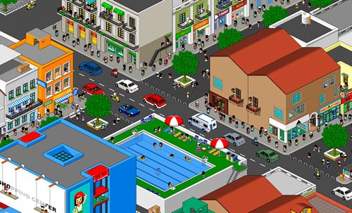 большой пиксельный город