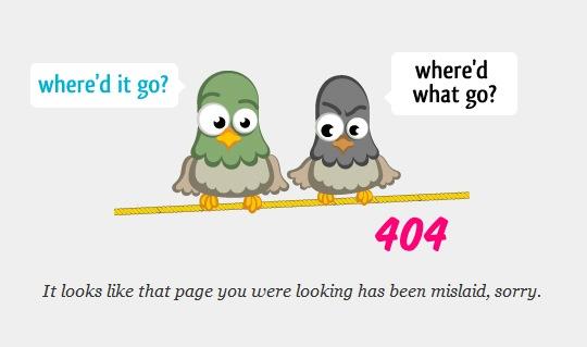 Иллюстрация птиц на странице ошибки 404