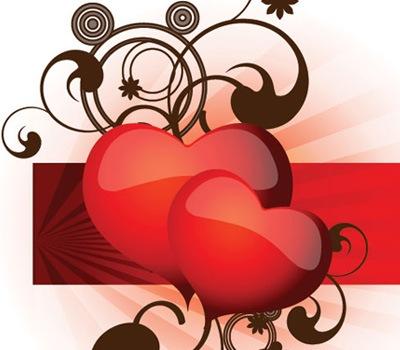Векторные сердца с элементами паттернов