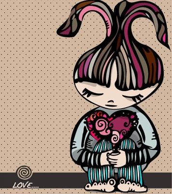 Векторная иллюстрация девушки с сердцем
