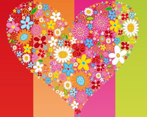 Векторное сердце из цветов
