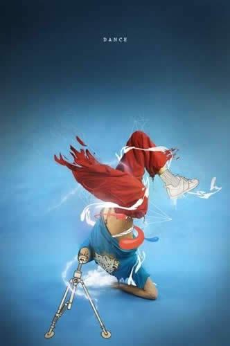 Фотоманипуляция с изображением танцора