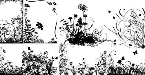 Завитые цветы в векторе
