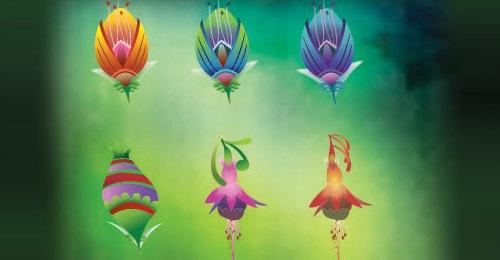 9 иллюстрированных векторных цветов