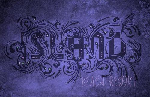 Типографический дизайн в синих тонах