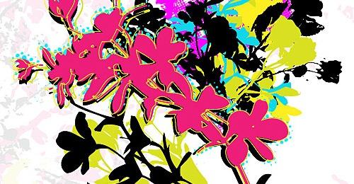 Векторные ретро цветы в стиле гранж