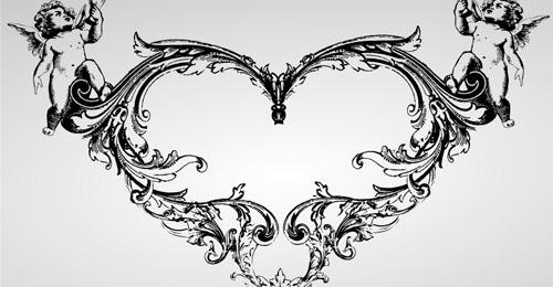 Украшенное векторное сердце