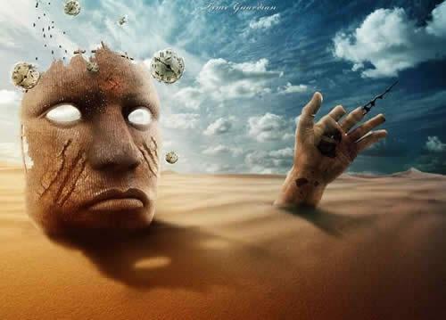 Создание дизайна с сюрреалистической сценой в пустыне
