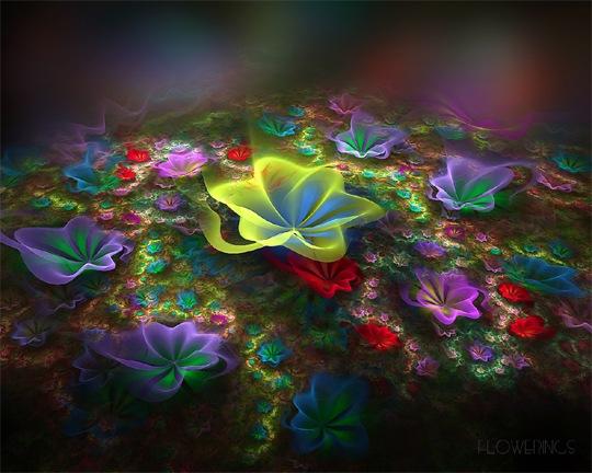 Яркие обои с цветами