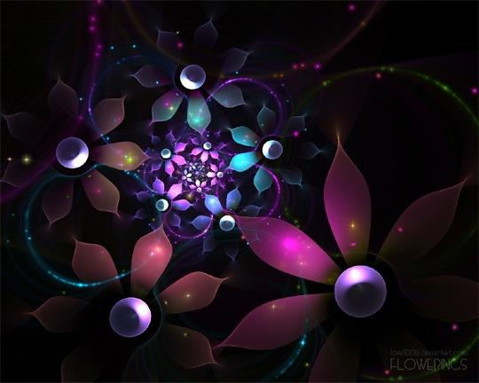 Блестящие яркие цветы
