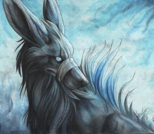 рисунок фантазийного волка
