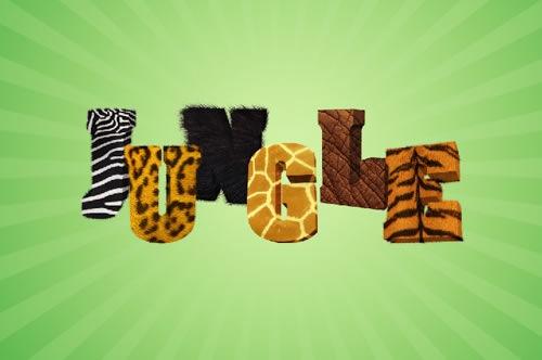3D текст в стиле джунглей при помощи Фотошопа
