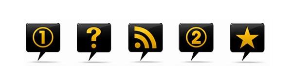 Блестящие черно-желтые иконки