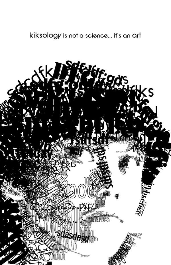изображение парня в типографике