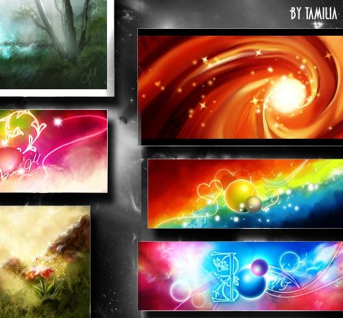 PSD набор ярких красочных изображений
