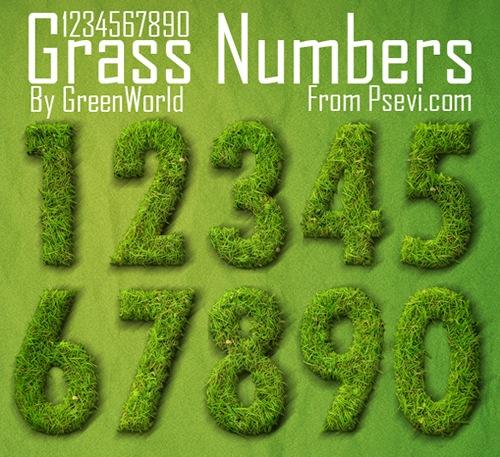 Цифры из травы PSD