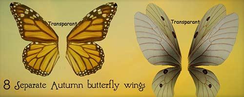 Набор крыльев весенних бабочек