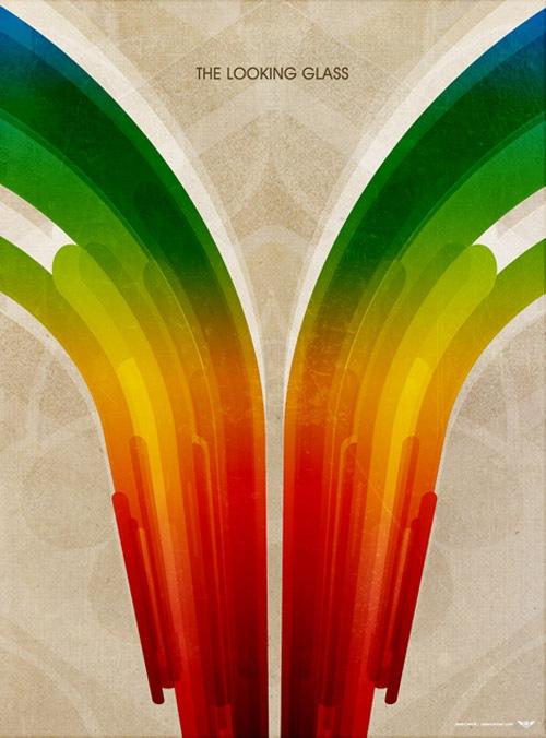 Симметричный ретрофутуристический постер