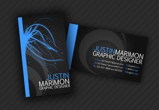 Яркие элементы на визитке графического дизайнера