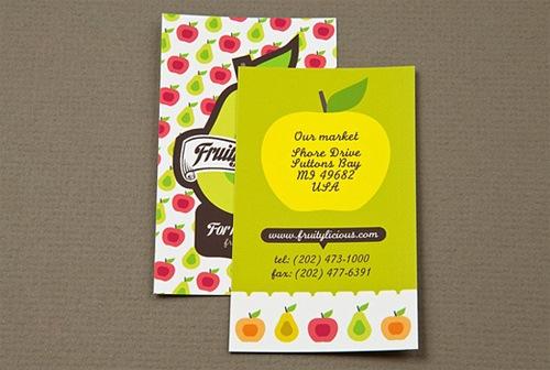 Яркие фрукты на визитке