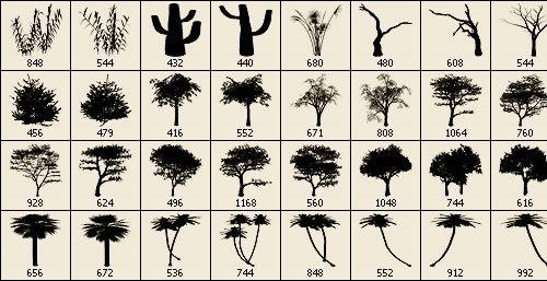 Набор кистей деревьев