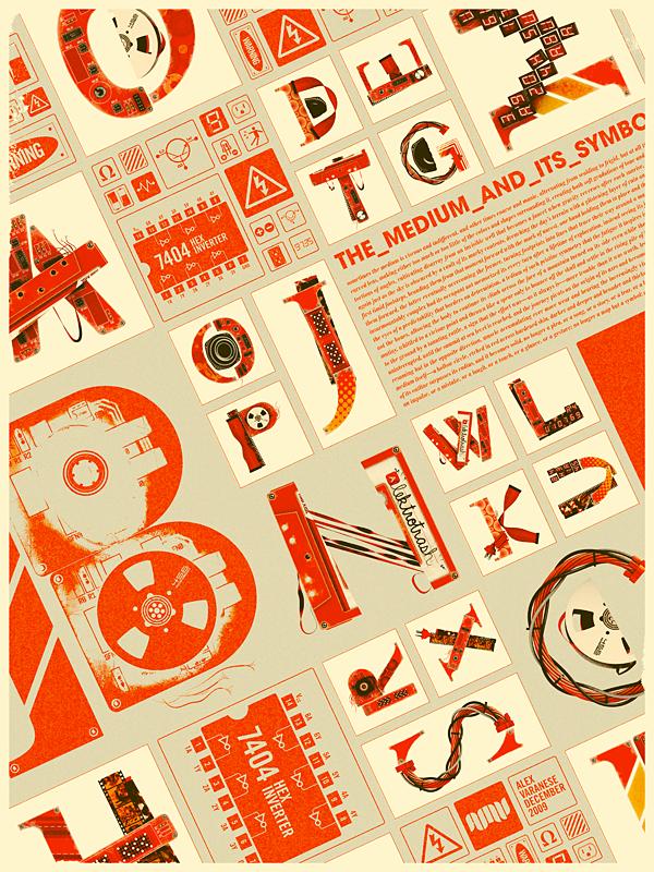 шрифты из ретро элементов