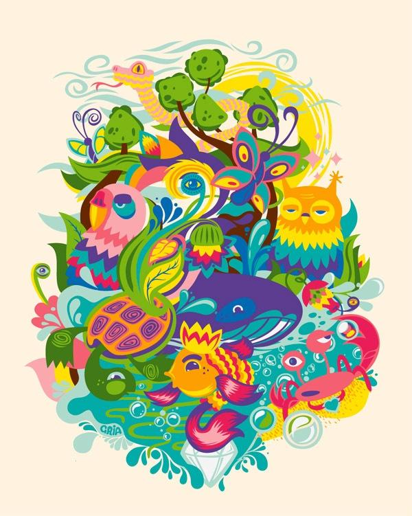 яркая иллюстрация с животными
