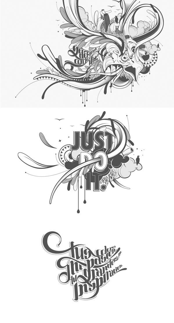типографические абстрактные рисунки