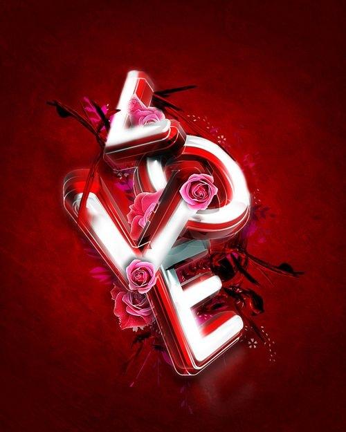 3D типографика к дню Св. Валентина