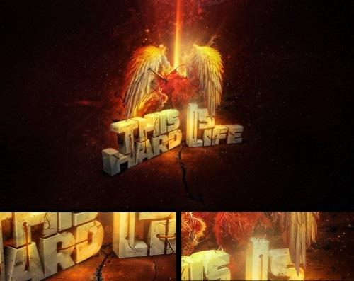 элементы огня в типографичеком дизайне
