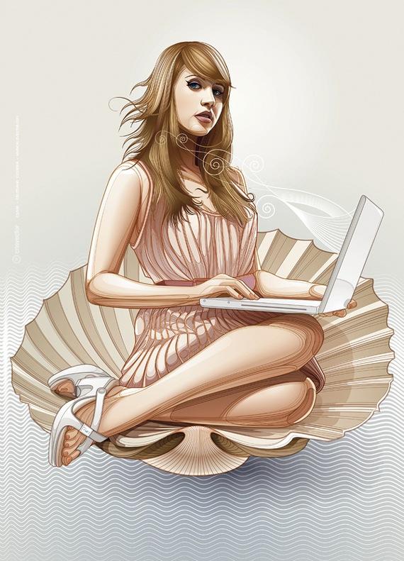 портрет девушки с ноутбуком