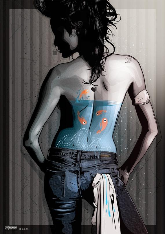 рисунок на спине