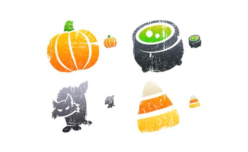 Хеллоуин иконки в стиле гранж для Windows и Vista