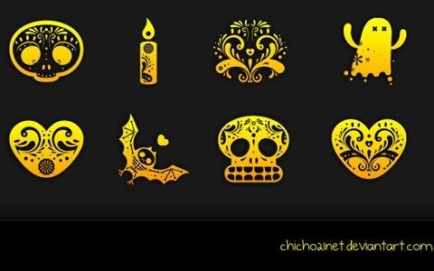 """Иконки в стиле мексиканского """"Праздника мертвых"""""""
