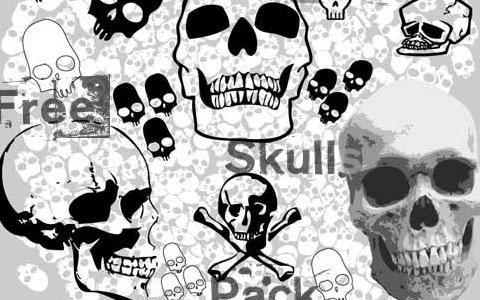 Бесплатный набор с изображениями векторных черепов
