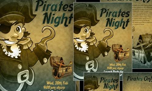 состаренный текстурированный пиратский постер