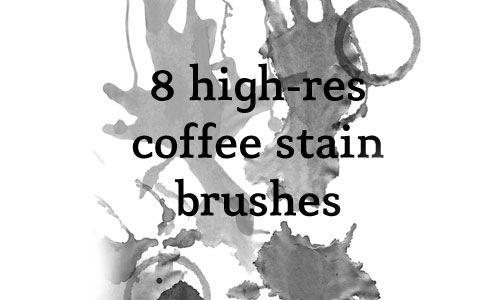 8 кистей пятен от кофе в высоком разрешении