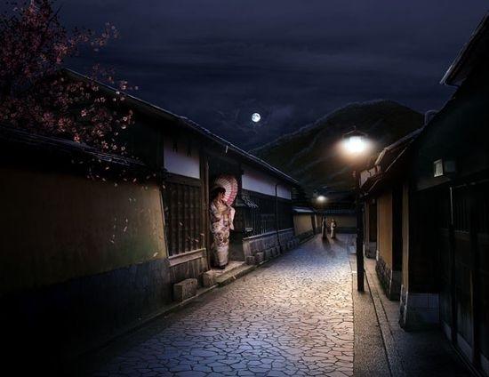 Вечерняя японская деревня