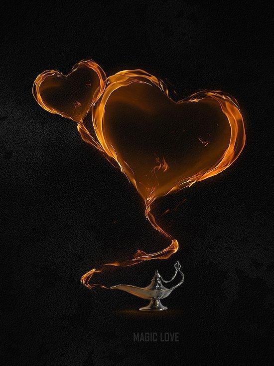 Волшебная иллюстрация с пылающими сердцами